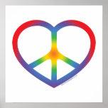 Corazón del arco iris, amor, signo de la paz impresiones