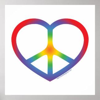 Corazón del arco iris amor signo de la paz impresiones