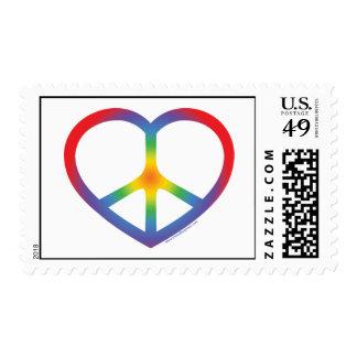 Corazón del arco iris, amor, signo de la paz franqueo