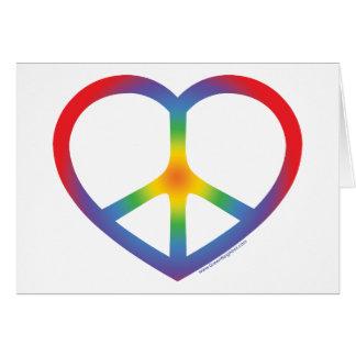 Corazón del arco iris, amor, signo de la paz tarjeta de felicitación