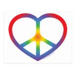 Corazón del arco iris, amor, signo de la paz tarjeta postal