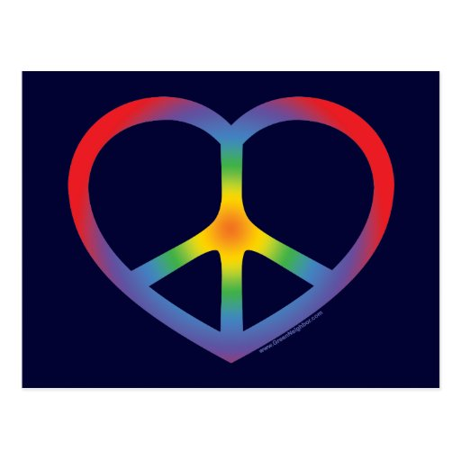 Corazón del arco iris, amor, signo de la paz postales
