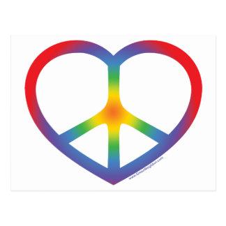 Corazón del arco iris, amor, signo de la paz tarjetas postales