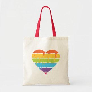 Corazón del arco iris con la pintura del goteo bolsa tela barata
