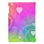 corazón del arco iris con rosa iPad mini fundas