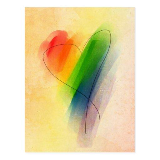 Corazón del arco iris de la acuarela tarjetas postales