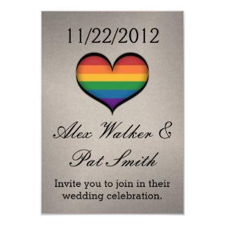 """Corazón del arco iris de LGBT Invitación 3.5"""" X 5"""""""