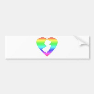 Corazón del arco iris de New Jersey Pegatina Para Auto