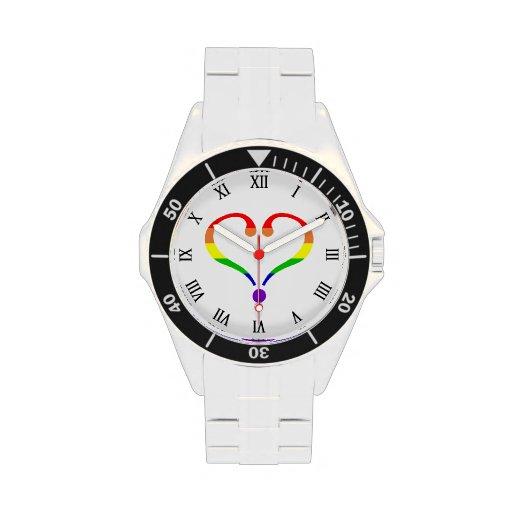Corazón del arco iris del amor libre reloj de mano