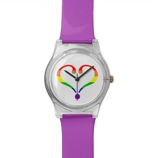 Corazón del arco iris del amor libre reloj