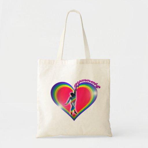 Corazón del arco iris del gimnasta bolsa tela barata