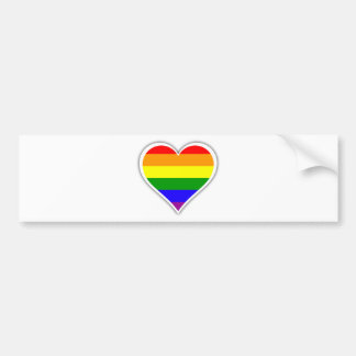 Corazón del arco iris del orgullo gay pegatina de parachoque