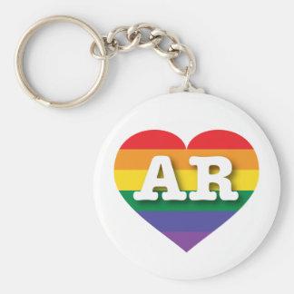Corazón del arco iris del orgullo gay de Arkansas Llavero Redondo Tipo Pin