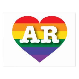 Corazón del arco iris del orgullo gay de Arkansas Tarjeta Postal