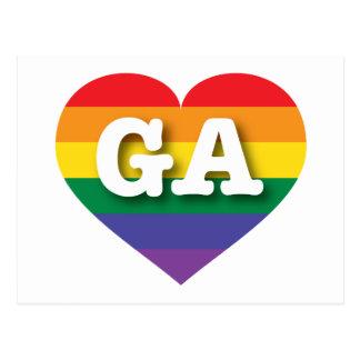 Corazón del arco iris del orgullo gay de Georgia - Postal