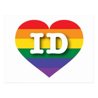 Corazón del arco iris del orgullo gay de Idaho - Tarjetas Postales