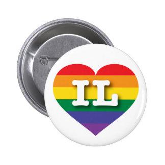Corazón del arco iris del orgullo gay de Illinois Pin Redondo De 2 Pulgadas