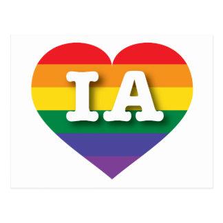 Corazón del arco iris del orgullo gay de Iowa - Postal