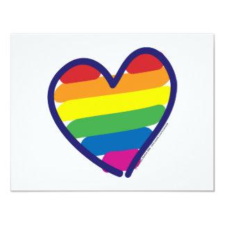 """Corazón del arco iris del orgullo gay de la invitación 4.25"""" x 5.5"""""""