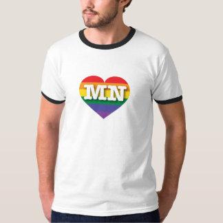 Corazón del arco iris del orgullo gay de Minnesota Camisas