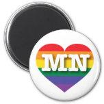 Corazón del arco iris del orgullo gay de Minnesota Imán Redondo 5 Cm