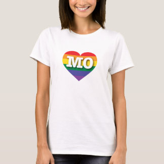 Corazón del arco iris del orgullo gay de Missouri Playera