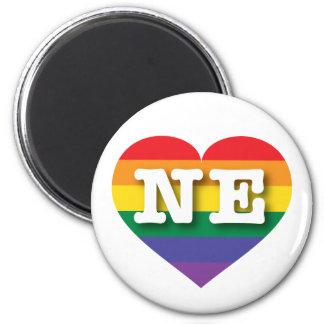 Corazón del arco iris del orgullo gay de Nebraska Imán Redondo 5 Cm
