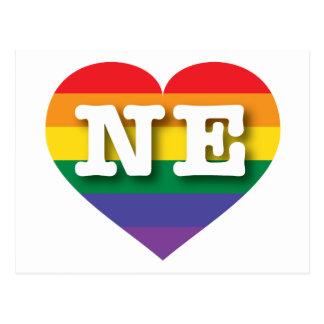 Corazón del arco iris del orgullo gay de Nebraska Postales