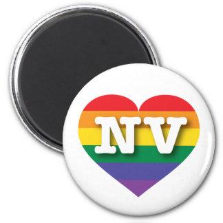 Corazón del arco iris del orgullo gay de Nevada - Imán Redondo 5 Cm