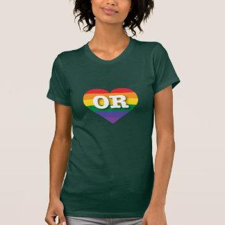 Corazón del arco iris del orgullo gay de Oregon - Poleras