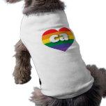 Corazón del arco iris del orgullo gay de playera sin mangas para perro