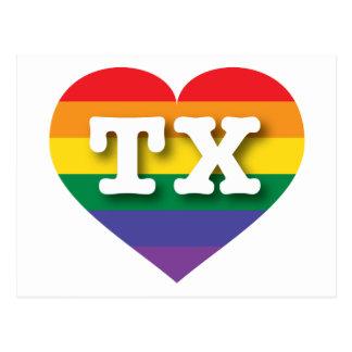 Corazón del arco iris del orgullo gay de Tejas - Tarjeta Postal