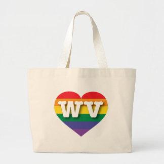 Corazón del arco iris del orgullo gay de Virginia Bolsa Tela Grande