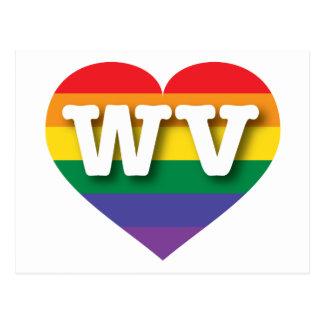 Corazón del arco iris del orgullo gay de Virginia Tarjetas Postales