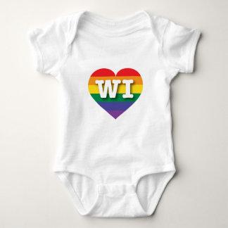 Corazón del arco iris del orgullo gay de Wisconsin Body Para Bebé