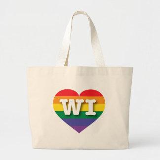 Corazón del arco iris del orgullo gay de Wisconsin Bolsa Tela Grande