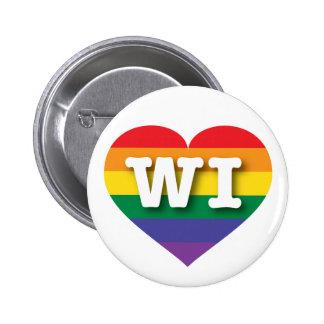 Corazón del arco iris del orgullo gay de Wisconsin Pin Redondo De 2 Pulgadas