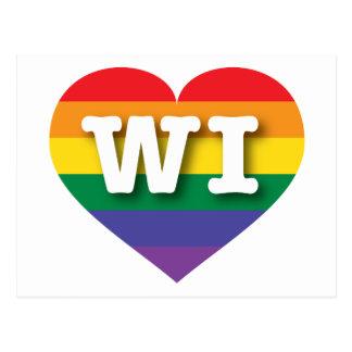 Corazón del arco iris del orgullo gay de Wisconsin Tarjetas Postales