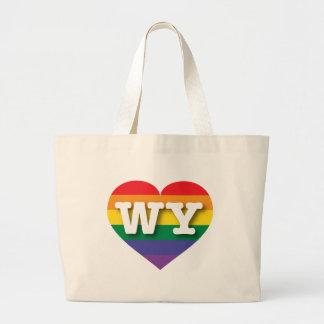 Corazón del arco iris del orgullo gay de Wyoming - Bolsa Tela Grande