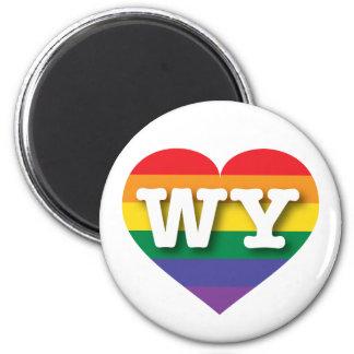Corazón del arco iris del orgullo gay de Wyoming - Imán Redondo 5 Cm