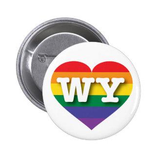 Corazón del arco iris del orgullo gay de Wyoming - Pin Redondo De 2 Pulgadas