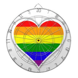Corazón del arco iris del orgullo gay tablero dardos