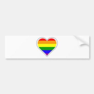 Corazón del arco iris del orgullo gay pegatina para auto