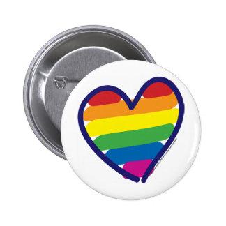 Corazón del arco iris del orgullo gay pin redondo de 2 pulgadas