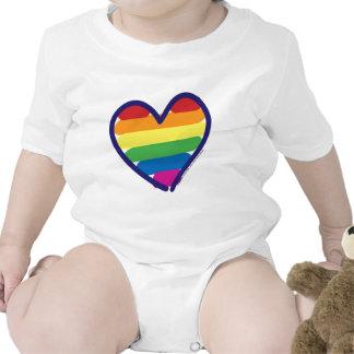 Corazón del arco iris del orgullo gay trajes de bebé