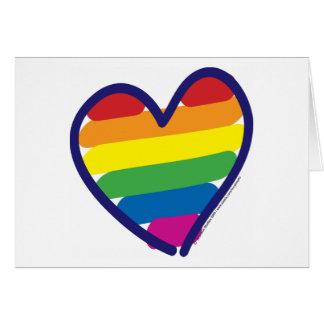 Corazón del arco iris del orgullo gay tarjeta de felicitación