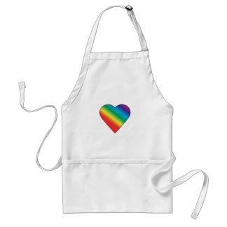 Corazón del arco iris delantal