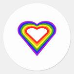 Corazón del arco iris etiquetas redondas