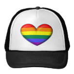 Corazón del arco iris gorras