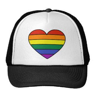 Corazón del arco iris gorras de camionero